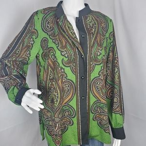 Bob Mackie Wearable Art Green Brown Paisley Button